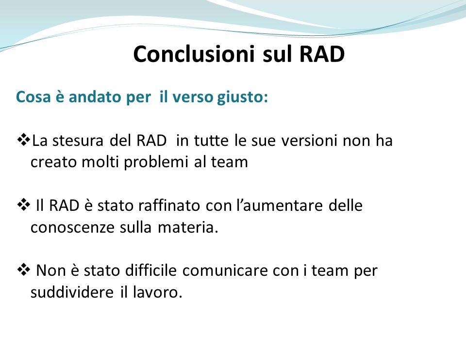 Conclusioni sul RAD Cosa è andato per il verso giusto: La stesura del RAD in tutte le sue versioni non ha creato molti problemi al team Il RAD è stato
