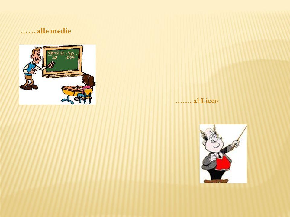 ……alle medie ……. al Liceo