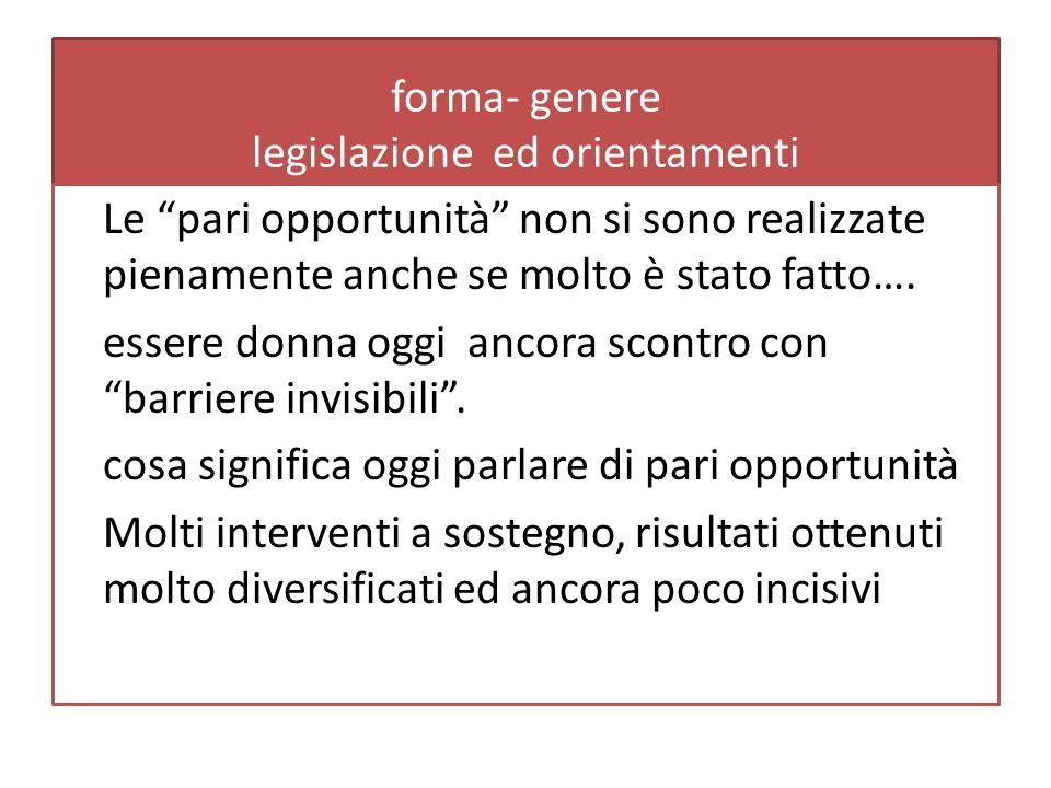 forma- genere legislazione ed orientamenti Le pari opportunità non si sono realizzate pienamente anche se molto è stato fatto….