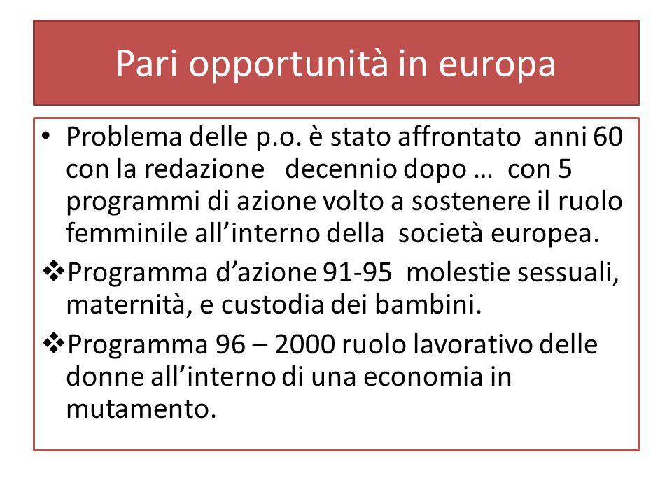 Pari opportunità in europa Problema delle p.o.