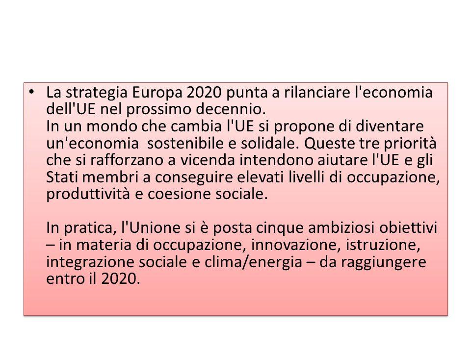 La strategia Europa 2020 punta a rilanciare l economia dell UE nel prossimo decennio.