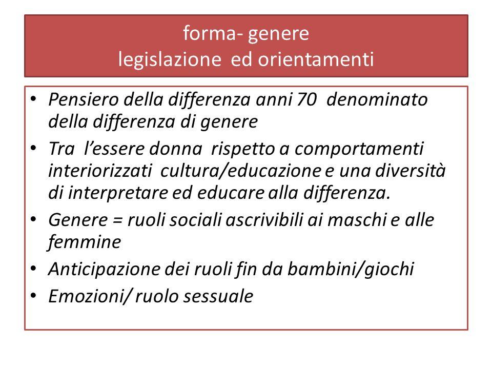 forma- genere legislazione ed orientamenti Pensiero della differenza anni 70 denominato della differenza di genere Tra lessere donna rispetto a comportamenti interiorizzati cultura/educazione e una diversità di interpretare ed educare alla differenza.