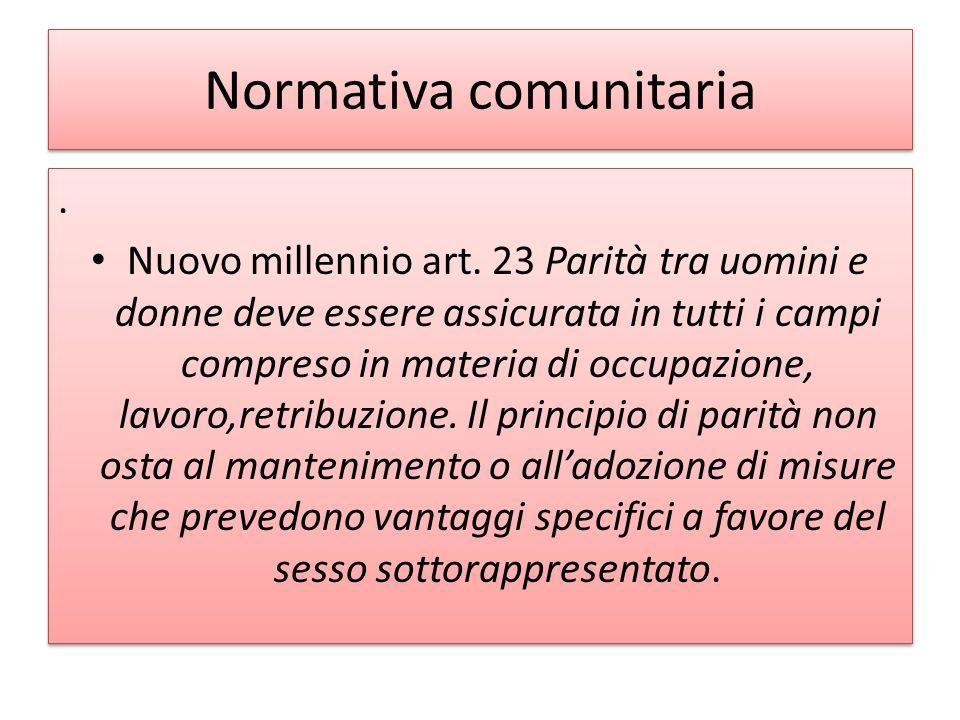 Normativa comunitaria.Nuovo millennio art.