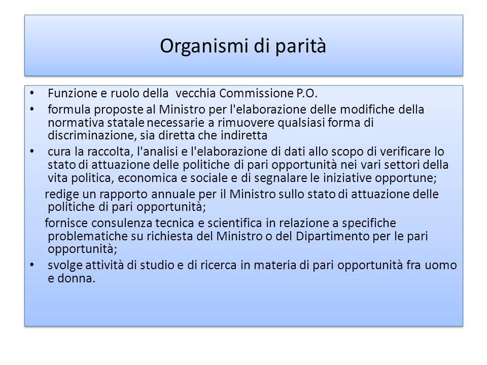 Organismi di parità Funzione e ruolo della vecchia Commissione P.O.
