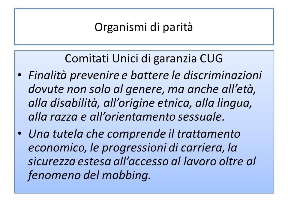 Organismi di parità Comitati Unici di garanzia CUG Finalità prevenire e battere le discriminazioni dovute non solo al genere, ma anche alletà, alla disabilità, allorigine etnica, alla lingua, alla razza e allorientamento sessuale.