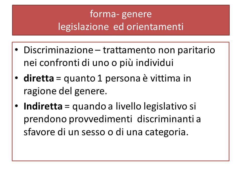 forma- genere legislazione ed orientamenti Discriminazione – trattamento non paritario nei confronti di uno o più individui diretta = quanto 1 persona è vittima in ragione del genere.