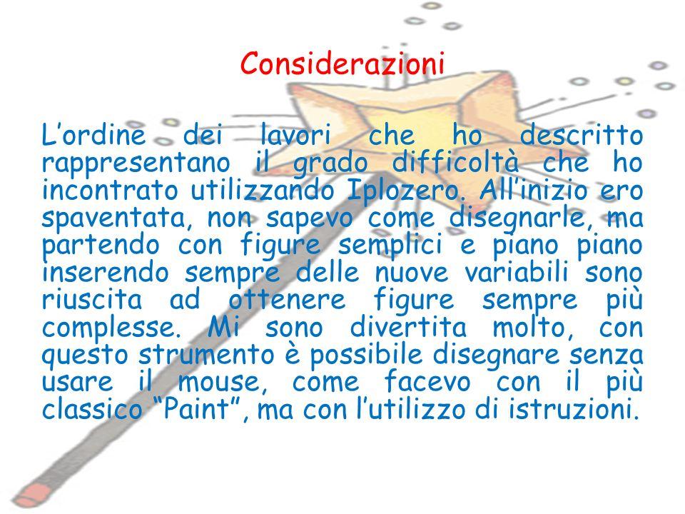 Considerazioni Lordine dei lavori che ho descritto rappresentano il grado difficoltà che ho incontrato utilizzando Iplozero.