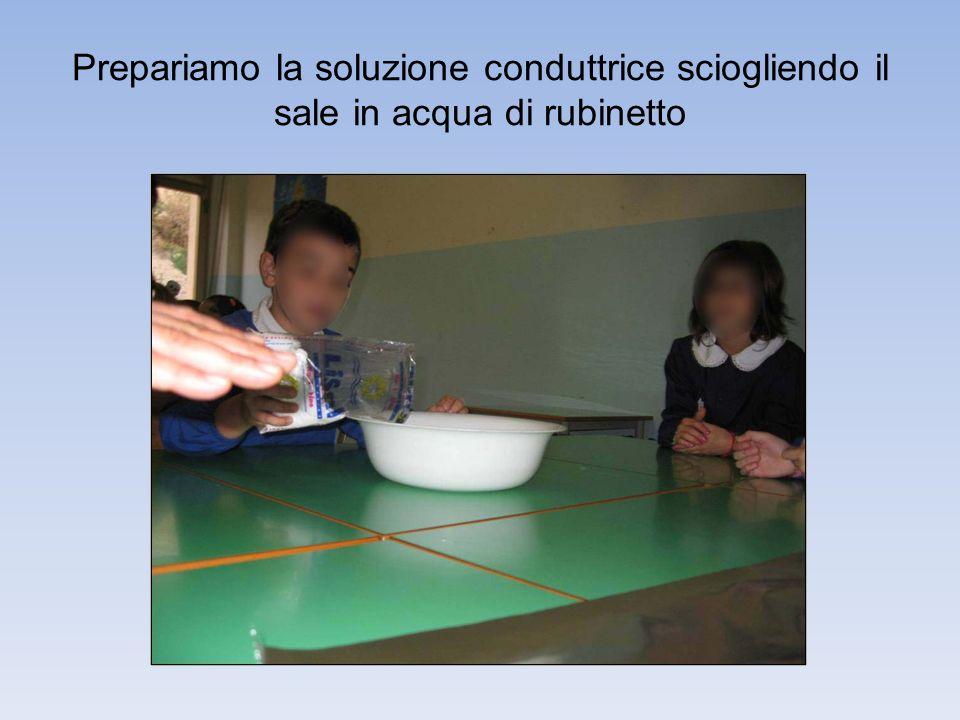 Prepariamo la soluzione conduttrice sciogliendo il sale in acqua di rubinetto