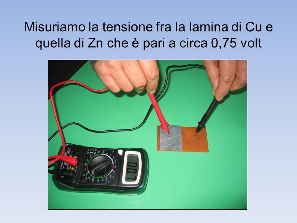 Misuriamo la tensione fra la lamina di Cu e quella di Zn che è pari a circa 0,75 volt