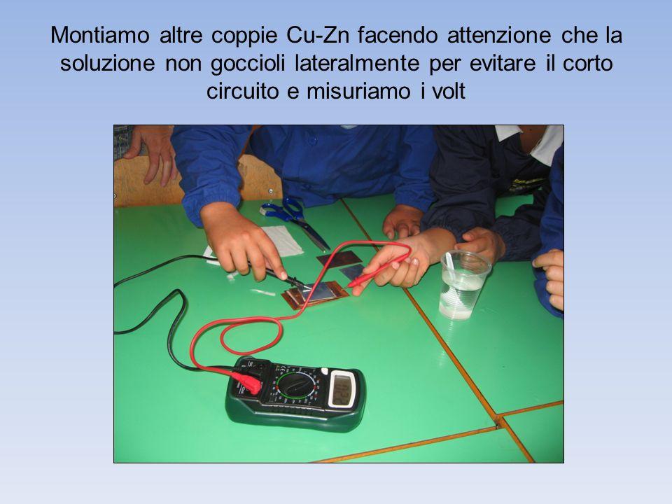 Montiamo altre coppie Cu-Zn facendo attenzione che la soluzione non goccioli lateralmente per evitare il corto circuito e misuriamo i volt