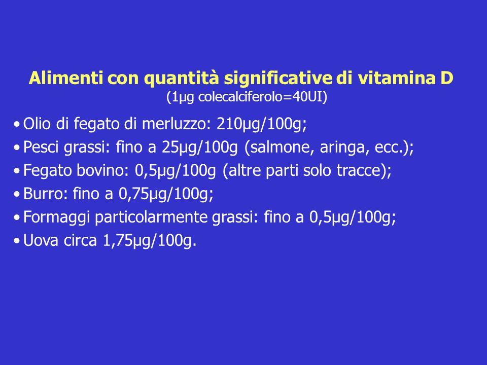 Alimenti con quantità significative di vitamina D (1µg colecalciferolo=40UI) Olio di fegato di merluzzo: 210µg/100g; Pesci grassi: fino a 25µg/100g (s