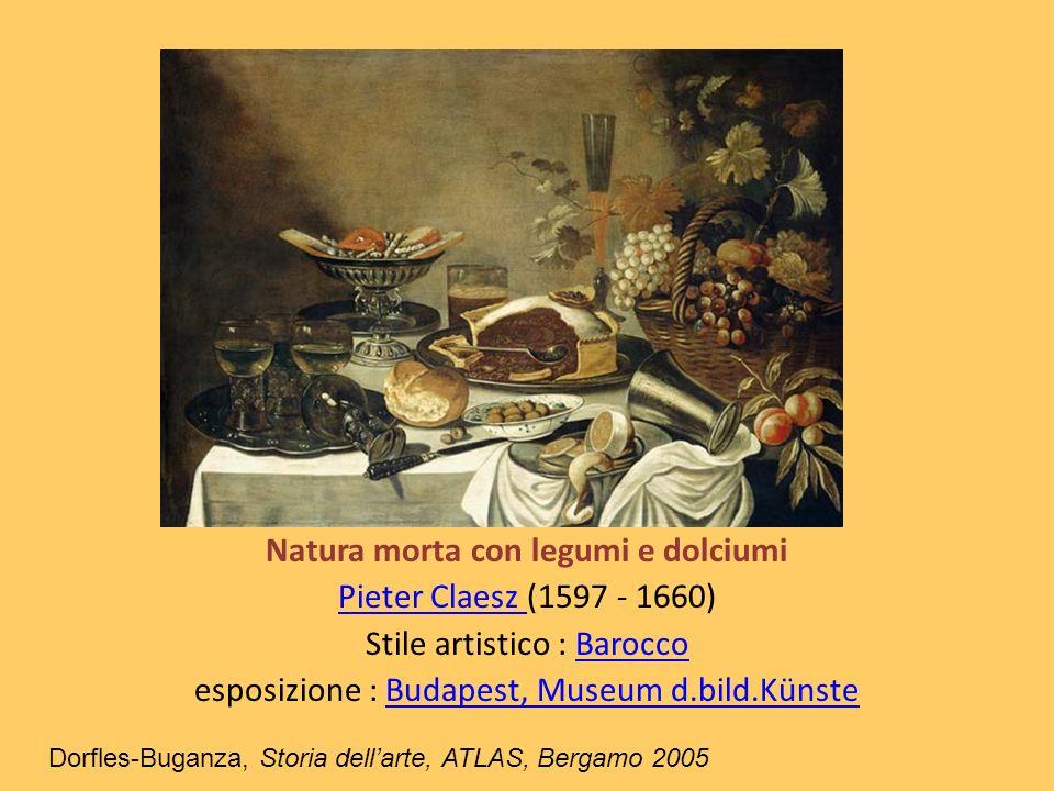 Natura morta con legumi e dolciumi Pieter Claesz Pieter Claesz (1597 - 1660) Stile artistico : BaroccoBarocco esposizione : Budapest, Museum d.bild.Kü