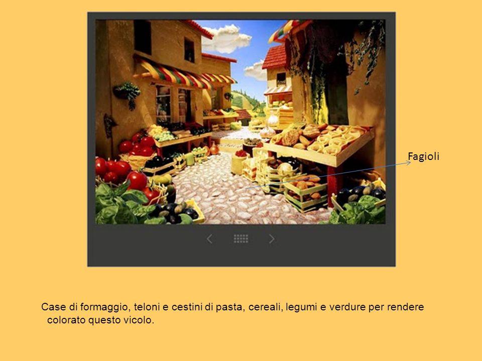 Case di formaggio, teloni e cestini di pasta, cereali, legumi e verdure per rendere colorato questo vicolo. Fagioli