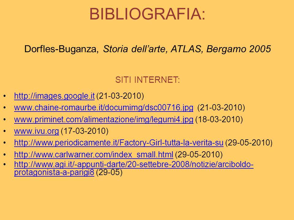 BIBLIOGRAFIA: Dorfles-Buganza, Storia dellarte, ATLAS, Bergamo 2005 SITI INTERNET: http://images.google.it (21-03-2010)http://images.google.it www.cha