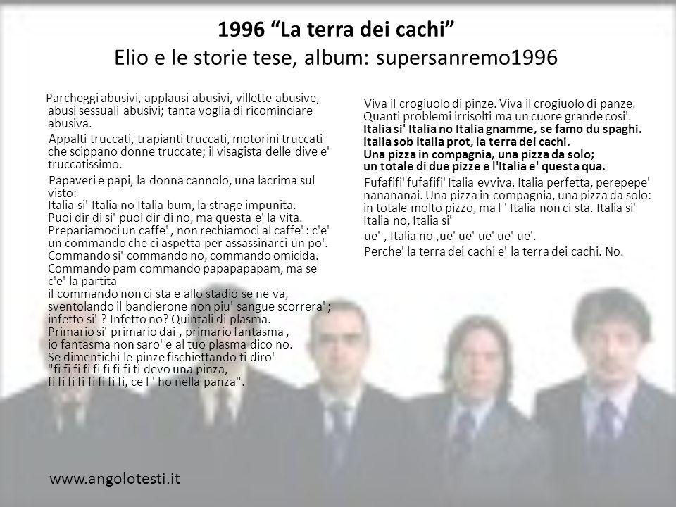 1996 La terra dei cachi Elio e le storie tese, album: supersanremo1996 Parcheggi abusivi, applausi abusivi, villette abusive, abusi sessuali abusivi; tanta voglia di ricominciare abusiva.