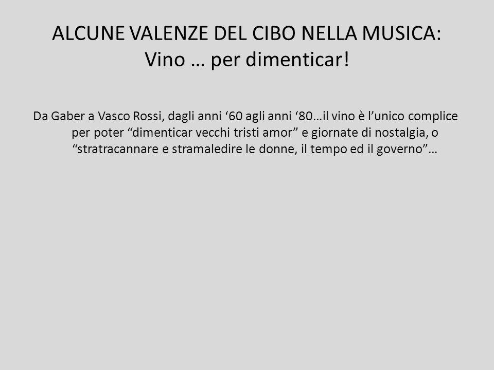 ALCUNE VALENZE DEL CIBO NELLA MUSICA: Vino … per dimenticar.