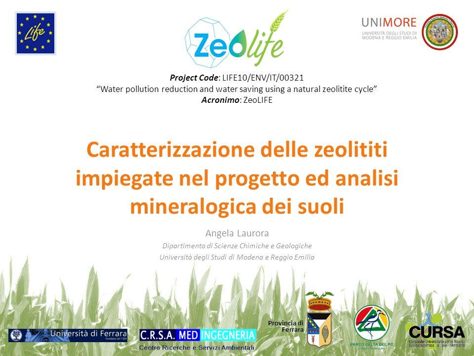 Caratterizzazione delle zeolititi impiegate nel progetto ed analisi mineralogica dei suoli Angela Laurora Dipartimento di Scienze Chimiche e Geologich