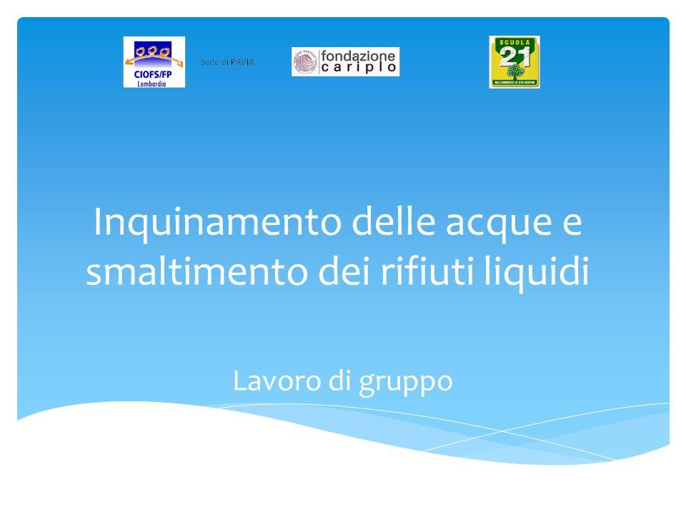 Inquinamento delle acque e smaltimento dei rifiuti liquidi Lavoro di gruppo