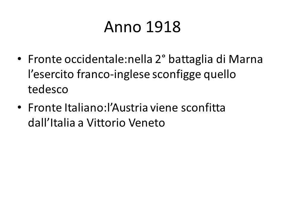 Anno 1918 Fronte occidentale:nella 2° battaglia di Marna lesercito franco-inglese sconfigge quello tedesco Fronte Italiano:lAustria viene sconfitta da