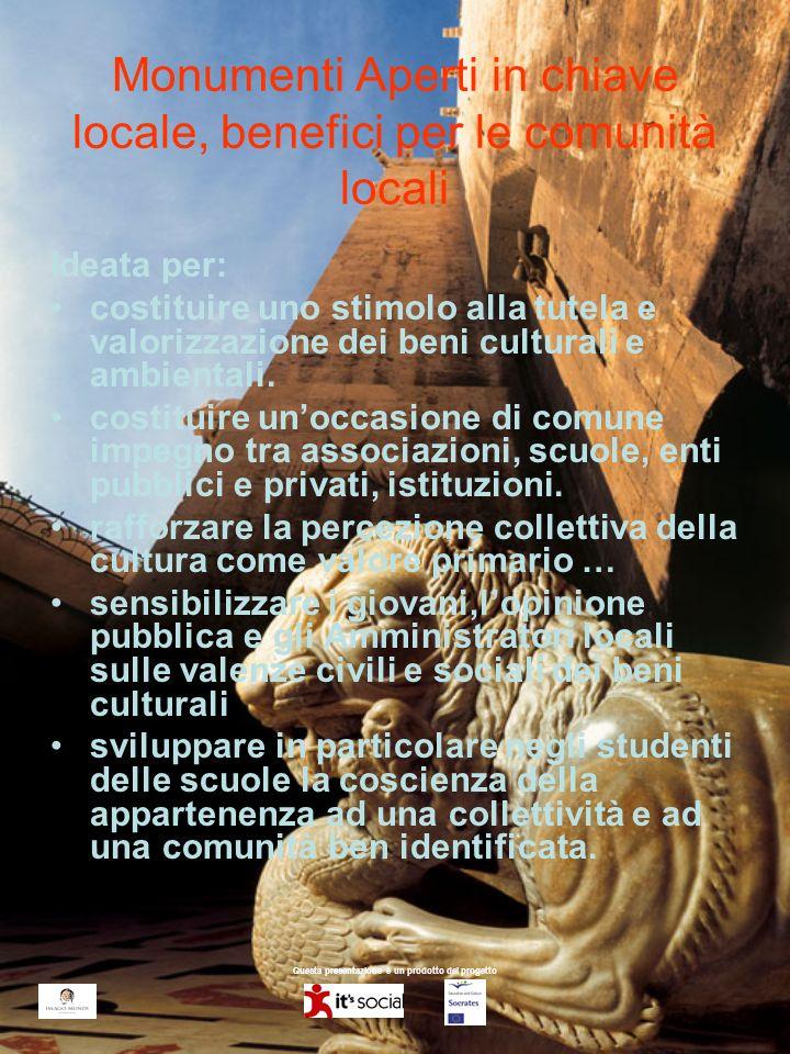 Questa presentazione è un prodotto del progetto Monumenti Aperti in chiave locale, benefici per le comunità locali Ideata per: costituire uno stimolo alla tutela e valorizzazione dei beni culturali e ambientali.