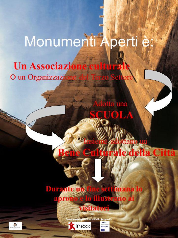 Questa presentazione è un prodotto del progetto Monumenti Aperti è: Un Associazione culturale O un Organizzazione del Terzo Settore Adotta una SCUOLA Insieme adottano un Bene Culturale della Città Durante un fine settimana lo aprono e lo illustrano ai visitatori