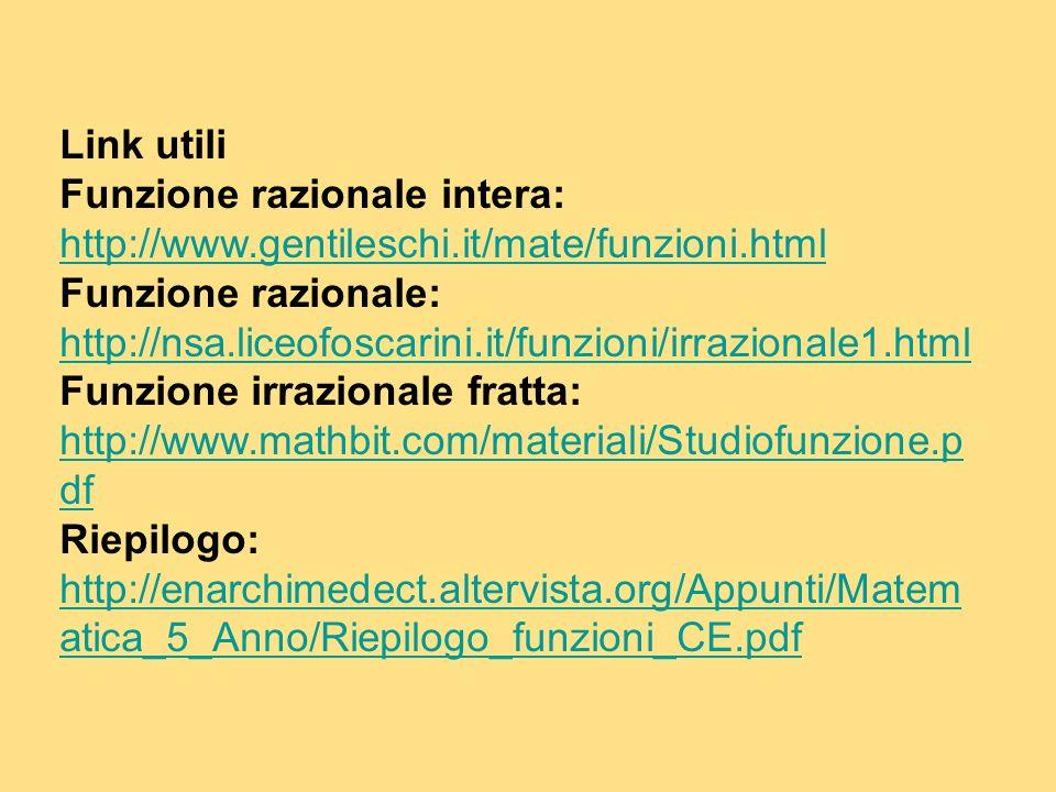 Link utili Funzione razionale intera: http://www.gentileschi.it/mate/funzioni.html http://www.gentileschi.it/mate/funzioni.html Funzione razionale: ht