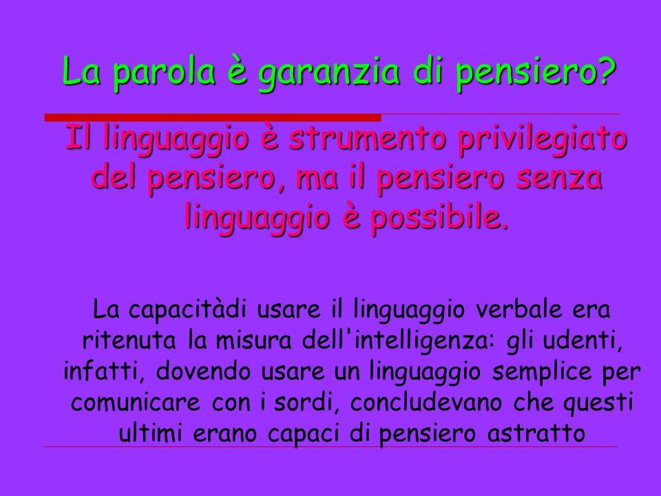 La parola è garanzia di pensiero? Il linguaggio è strumento privilegiato del pensiero, ma il pensiero senza linguaggio è possibile. La capacitàdi usar