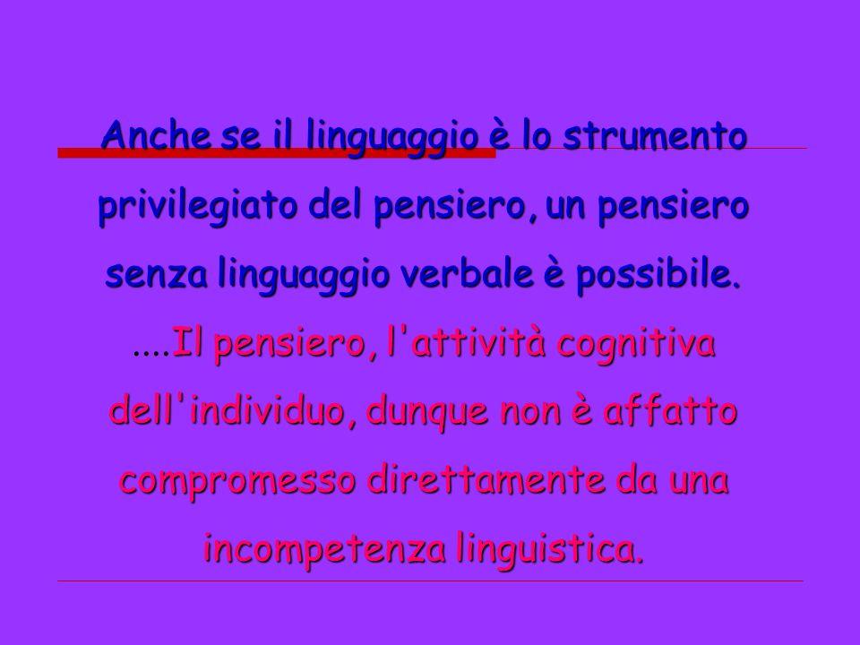 Anche se il linguaggio è lo strumento privilegiato del pensiero, un pensiero senza linguaggio verbale è possibile. Il pensiero, l'attività cognitiva..