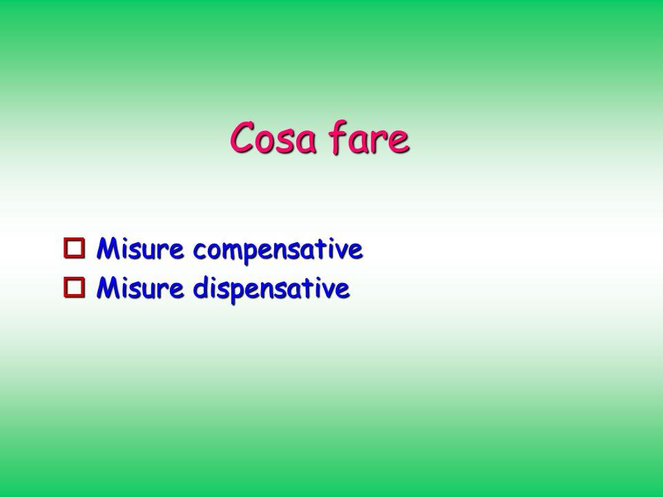 Cosa fare Misure compensative Misure compensative Misure dispensative Misure dispensative