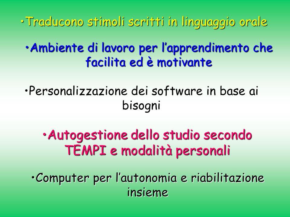 Traducono stimoli scritti in linguaggio oraleTraducono stimoli scritti in linguaggio orale Personalizzazione dei software in base ai bisogni Ambiente