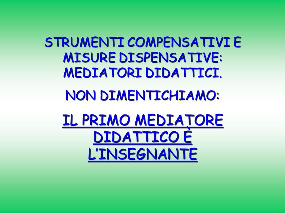 STRUMENTI COMPENSATIVI E MISURE DISPENSATIVE: MEDIATORI DIDATTICI. NON DIMENTICHIAMO: IL PRIMO MEDIATORE DIDATTICO È LINSEGNANTE