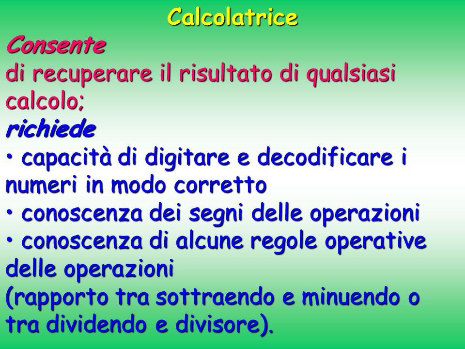 CalcolatriceConsente di recuperare il risultato di qualsiasi calcolo; richiede capacità di digitare e decodificare i numeri in modo corretto capacità