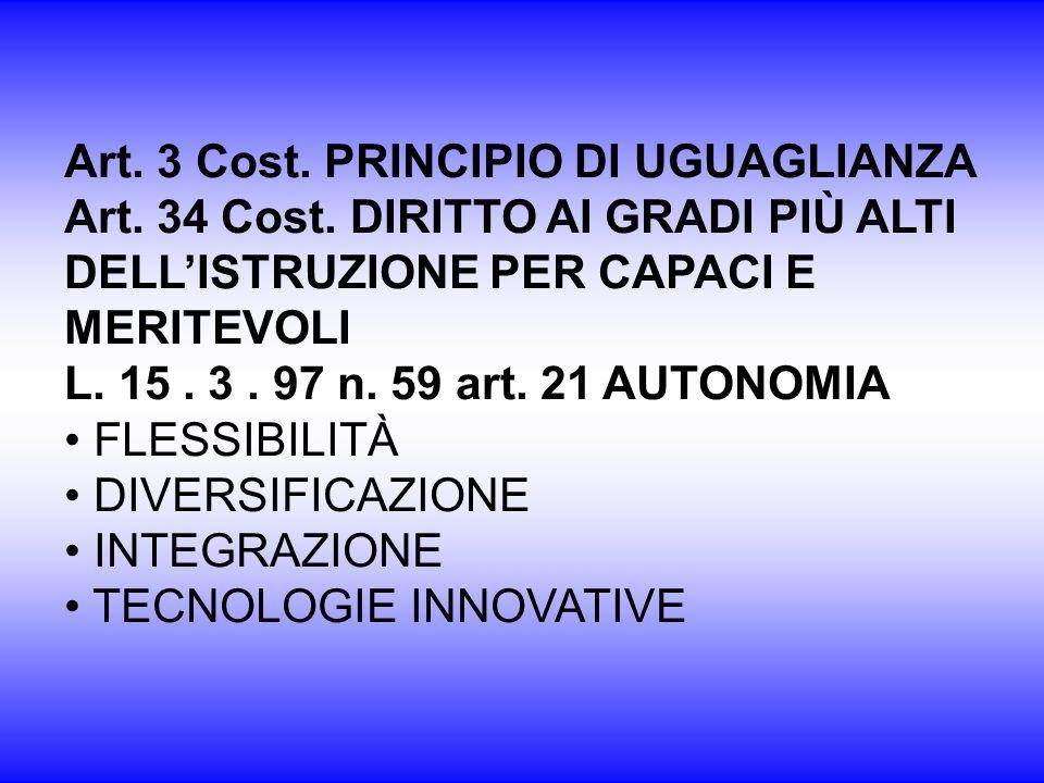 Art. 3 Cost. PRINCIPIO DI UGUAGLIANZA Art. 34 Cost. DIRITTO AI GRADI PIÙ ALTI DELLISTRUZIONE PER CAPACI E MERITEVOLI L. 15. 3. 97 n. 59 art. 21 AUTONO
