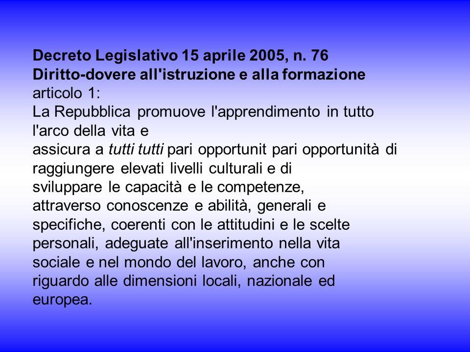 Decreto Legislativo 15 aprile 2005, n. 76 Diritto-dovere all'istruzione e alla formazione articolo 1: La Repubblica promuove l'apprendimento in tutto
