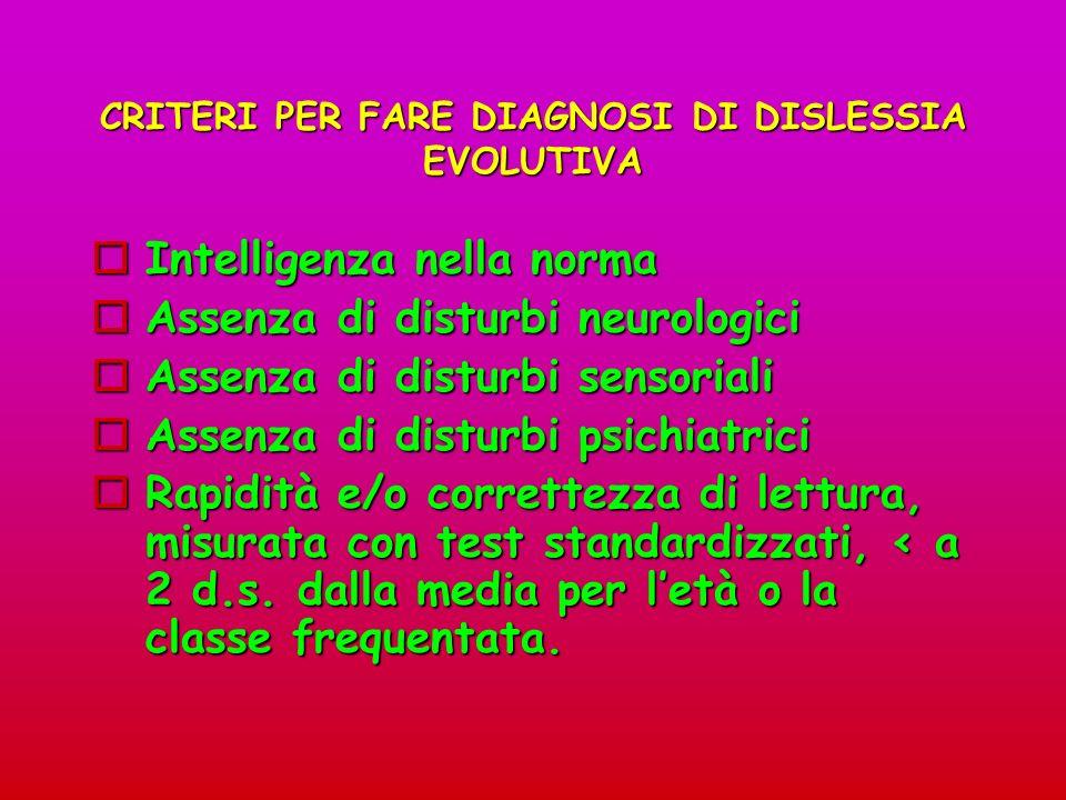 CRITERI PER FARE DIAGNOSI DI DISLESSIA EVOLUTIVA Intelligenza nella norma Intelligenza nella norma Assenza di disturbi neurologici Assenza di disturbi