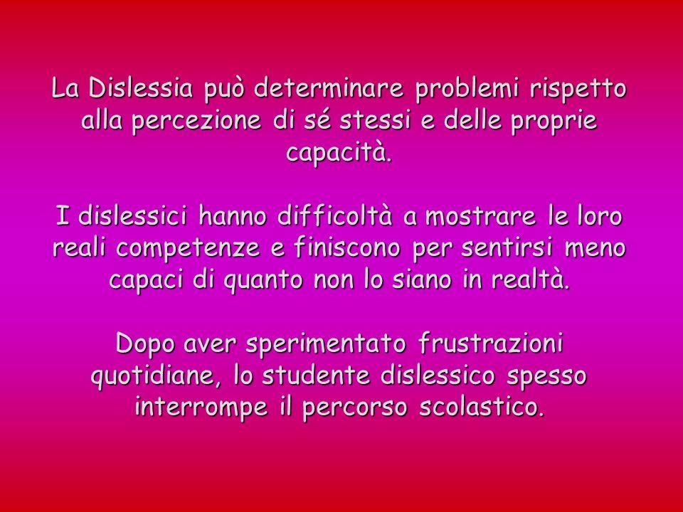 La Dislessia può determinare problemi rispetto alla percezione di sé stessi e delle proprie capacità. I dislessici hanno difficoltà a mostrare le loro