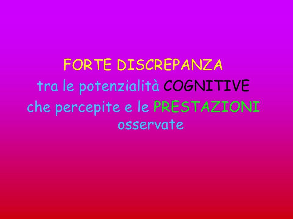 FORTE DISCREPANZA tra le potenzialità COGNITIVE che percepite e le PRESTAZIONI osservate
