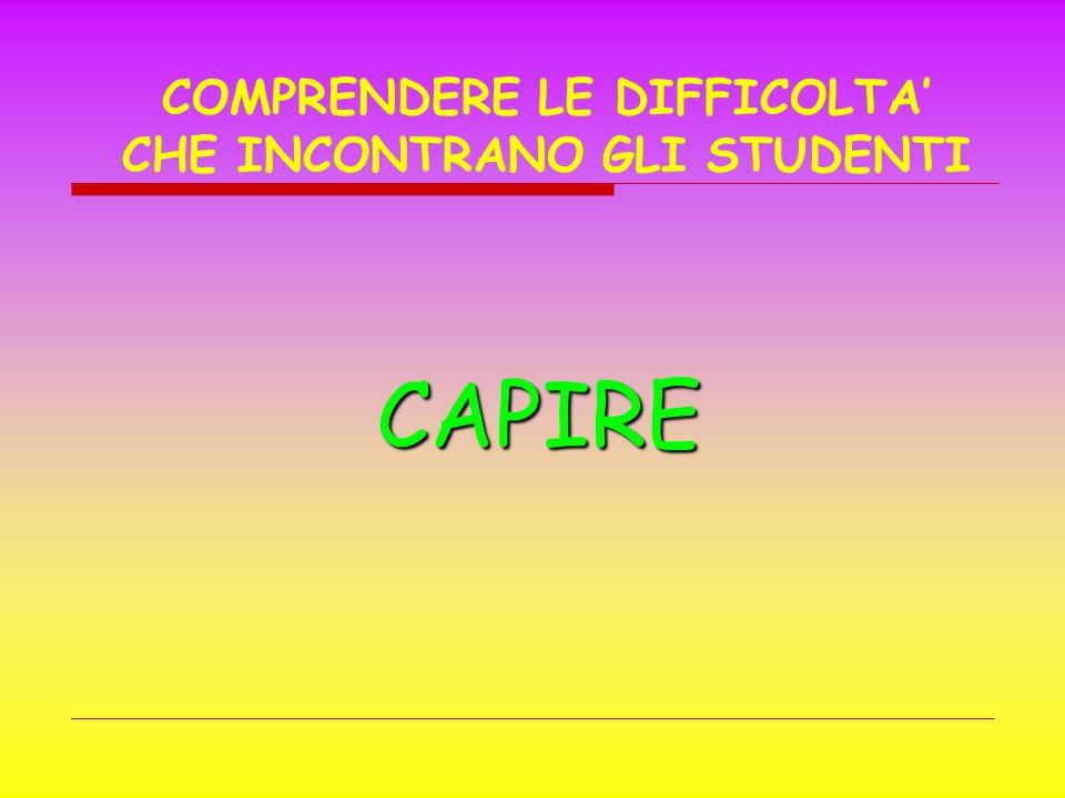 CAPIRE COMPRENDERE LE DIFFICOLTA CHE INCONTRANO GLI STUDENTI