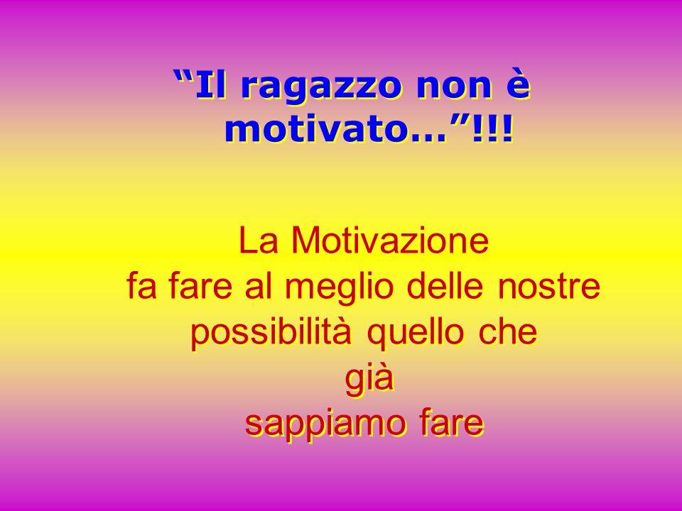 La Motivazione fa fare al meglio delle nostre possibilità quello che già sappiamo fare La Motivazione fa fare al meglio delle nostre possibilità quell