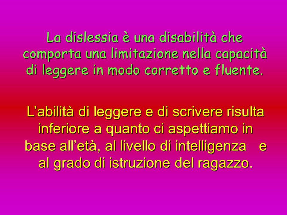 La dislessia è una disabilità che comporta una limitazione nella capacità di leggere in modo corretto e fluente. Labilità di leggere e di scrivere ris