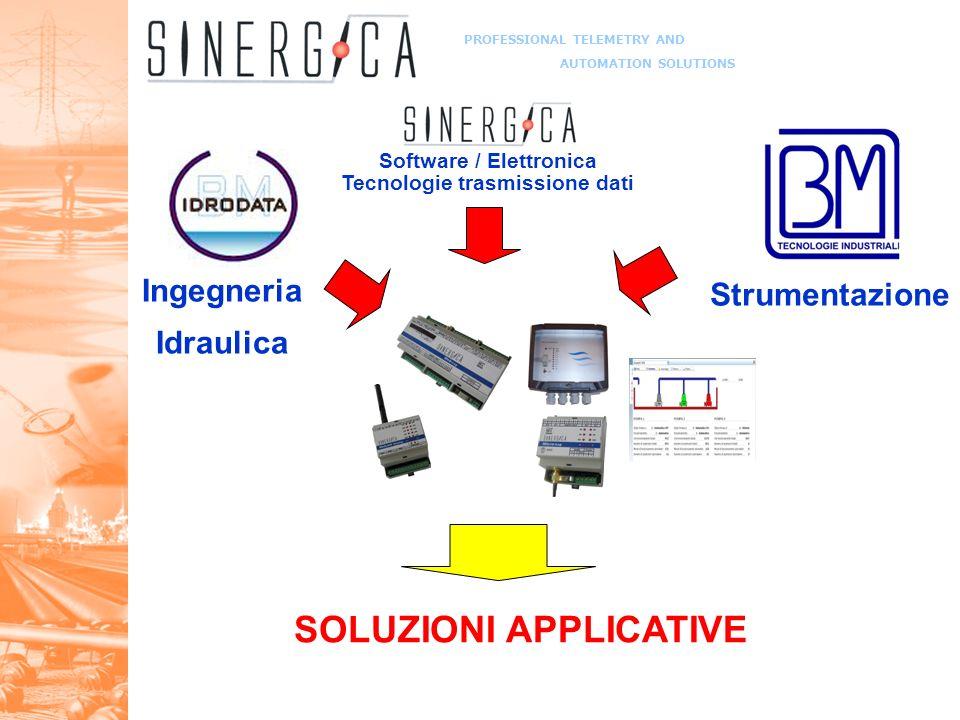 PROFESSIONAL TELEMETRY AND AUTOMATION SOLUTIONS Ingegneria Idraulica Strumentazione Software / Elettronica Tecnologie trasmissione dati SOLUZIONI APPLICATIVE