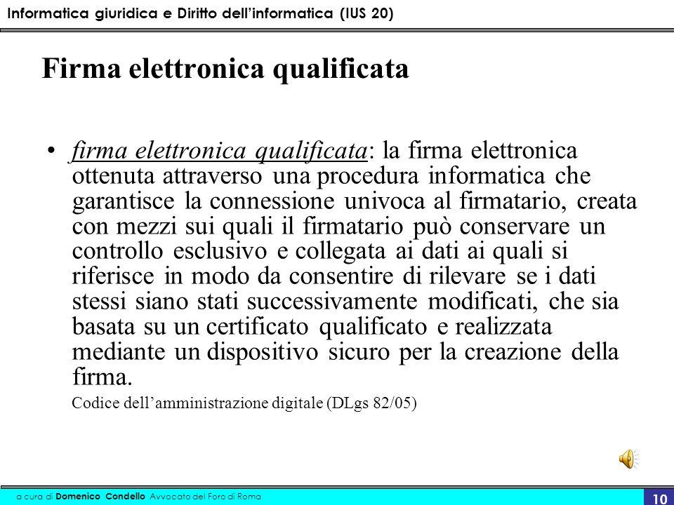 Informatica giuridica e Diritto dellinformatica (IUS 20) a cura di Domenico Condello Avvocato del Foro di Roma 10 Firma elettronica qualificata firma