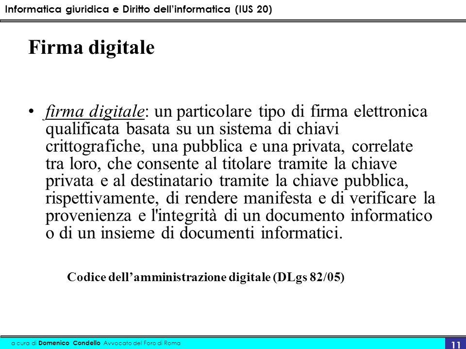 Informatica giuridica e Diritto dellinformatica (IUS 20) a cura di Domenico Condello Avvocato del Foro di Roma 11 Firma digitale firma digitale: un pa