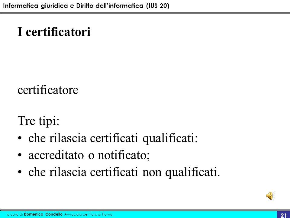Informatica giuridica e Diritto dellinformatica (IUS 20) a cura di Domenico Condello Avvocato del Foro di Roma 21 I certificatori certificatore Tre ti