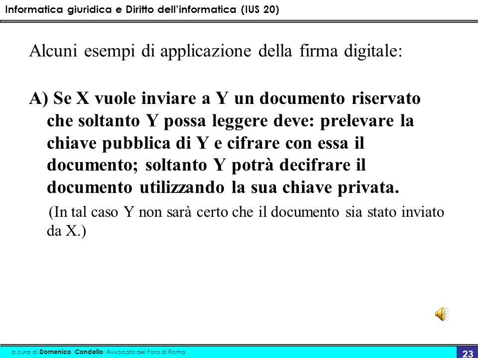 Informatica giuridica e Diritto dellinformatica (IUS 20) a cura di Domenico Condello Avvocato del Foro di Roma 23 Alcuni esempi di applicazione della