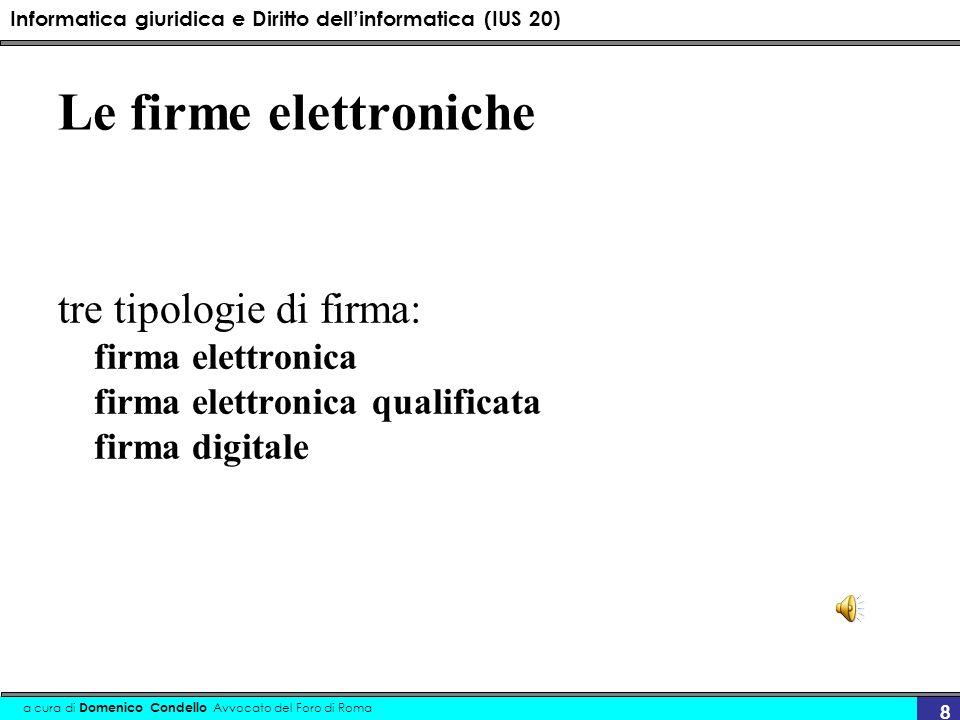 Informatica giuridica e Diritto dellinformatica (IUS 20) a cura di Domenico Condello Avvocato del Foro di Roma 8 Le firme elettroniche tre tipologie d