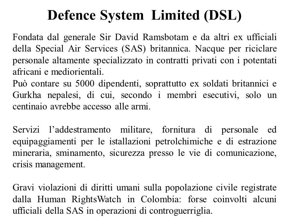 Defence System Limited (DSL) Fondata dal generale Sir David Ramsbotam e da altri ex ufficiali della Special Air Services (SAS) britannica.