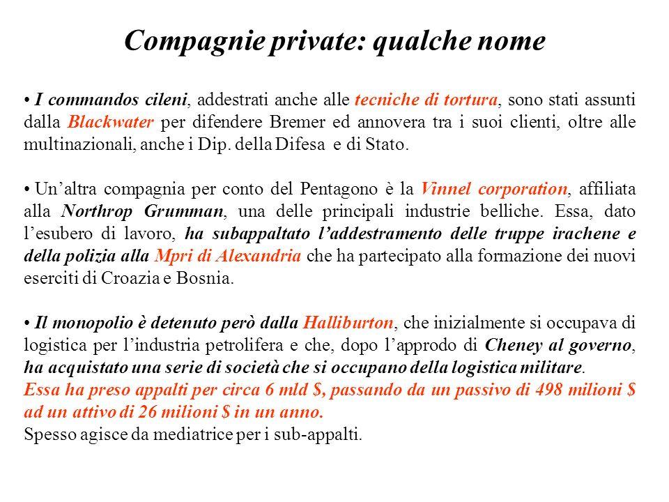 Compagnie private: qualche nome I commandos cileni, addestrati anche alle tecniche di tortura, sono stati assunti dalla Blackwater per difendere Bremer ed annovera tra i suoi clienti, oltre alle multinazionali, anche i Dip.