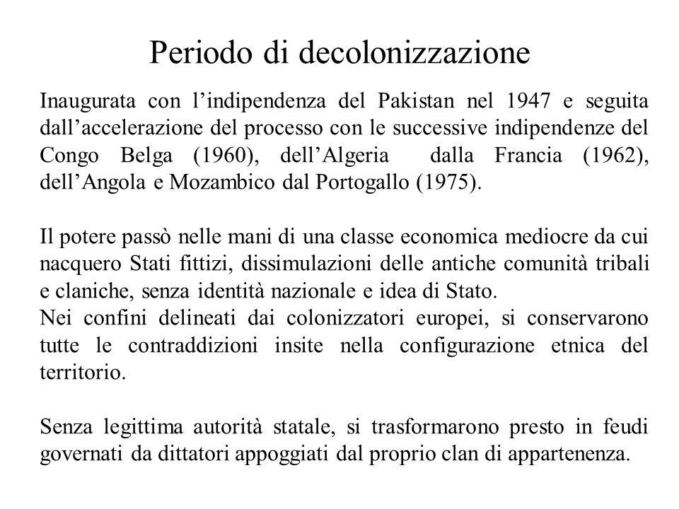 Periodo di decolonizzazione Inaugurata con lindipendenza del Pakistan nel 1947 e seguita dallaccelerazione del processo con le successive indipendenze del Congo Belga (1960), dellAlgeria dalla Francia (1962), dellAngola e Mozambico dal Portogallo (1975).