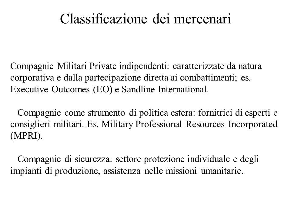 Classificazione dei mercenari Compagnie Militari Private indipendenti: caratterizzate da natura corporativa e dalla partecipazione diretta ai combattimenti; es.